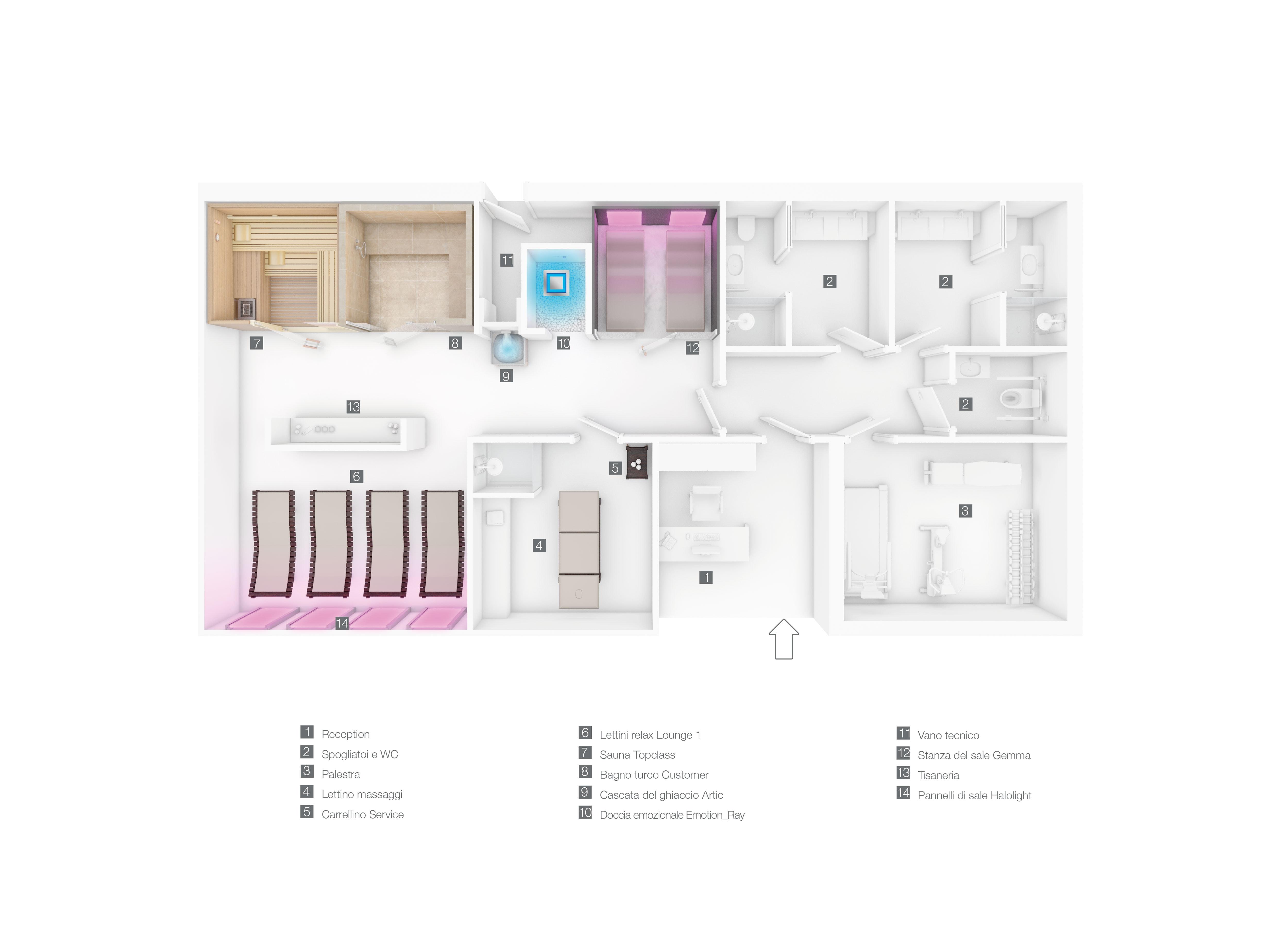 Progetti centri benessere realizzati da stenal - Progetto bagno 2 mq ...