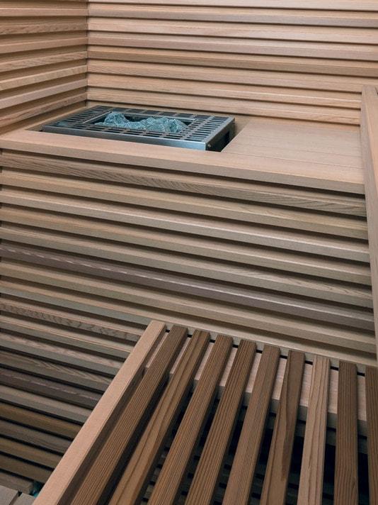 Dettaglio della stufa in una sauna